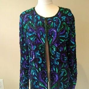 Laurence Kazar Silk Top Jacket Sequins Size Large